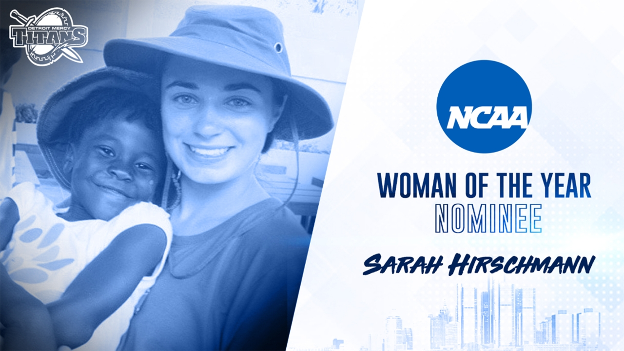 A graphic of Sarah Hirschmann's Woman of the Year nomination