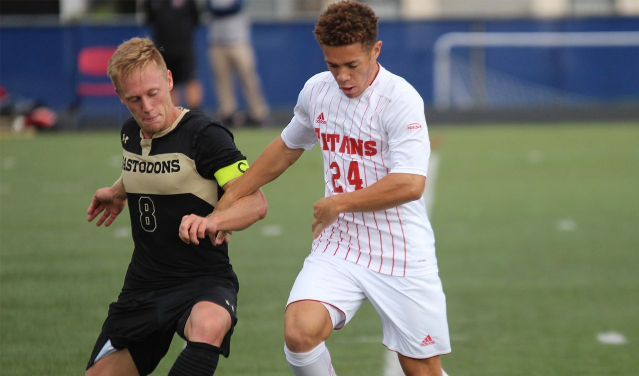 Detroit Mercy men's soccer student-athlete Bennett Brooks photographed during a game at Titan Field.