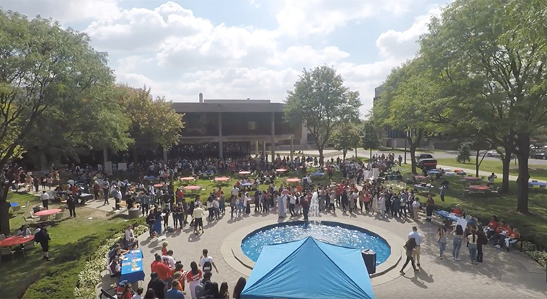 Arial shots of the Student Org fair.