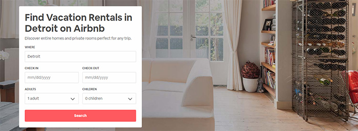AirBnB screenshot of home page