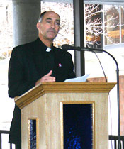 Fr. Stockhausen at UDM Town Hall Meeting
