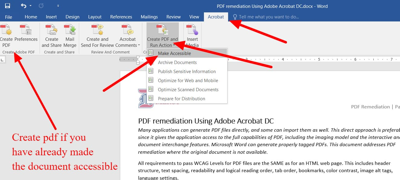 Acrobat tab shows the create pdf button options