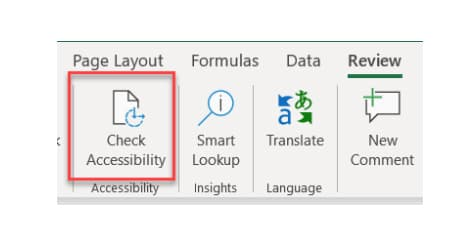 Accessibility Checker Button in Review Tab