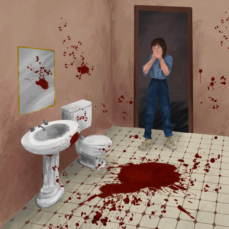 Alma discovering a bloody mess in her bathroom