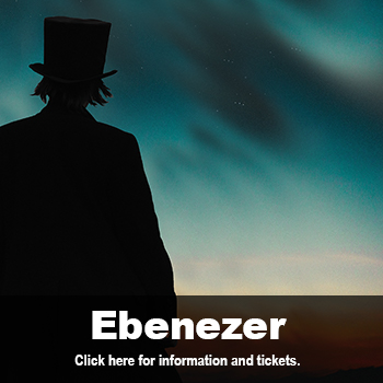 Silhouette of man in top hat at twilight. Ebenezer by Joseph Zettelmaier, Dec. 5-8 at Marlene Boll Theatre.