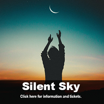Woman reaching for moon at dusk. Silent Sky by Lauren Gunderson, Oct. 17-27 at Marlene Boll Theatre.