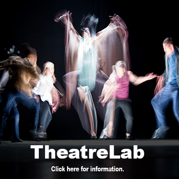 Actors moving on stage. Theatre Lab, Detroit Mercy Theatre Company's second stage for season 49.